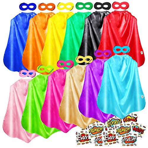 AIMIKE Superhero Capes Bulk Pack for Kids Party DIY Dress Up Costume 12 Colors Sets with Stickers