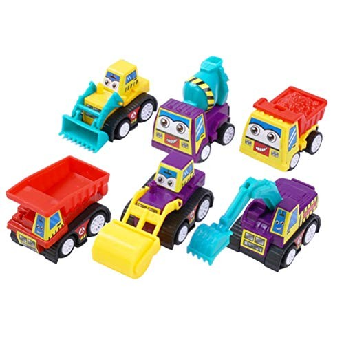 6 Pcs Mini Friction Powered Toy Car Engineering Vehicle Early Educational for Baby Toddler Children – Excavator Bulldozer Dumper Cement Mixer Road Roller Random As shown