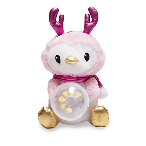 Cuddle Barn Snowglo Penguin 13 Winter's Blush Christmas Animated Stuffed Animal Plush toy for kids Pink and gold sways snowglobe blows snow with special LED light message