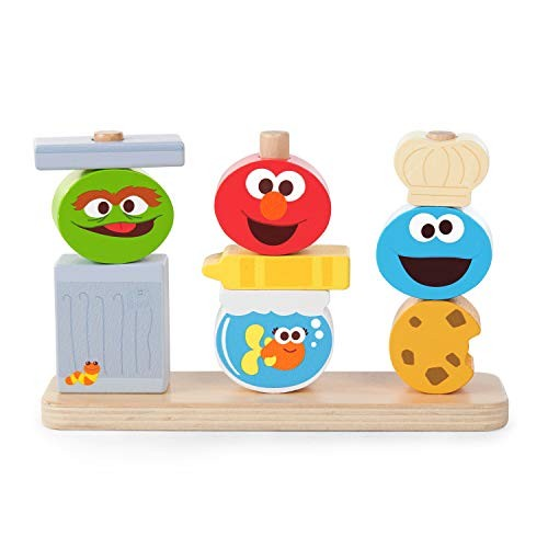 Bright Starts Mix & Match Sesame Street Friends Wooden Stacking Toy Ages 18-36 months