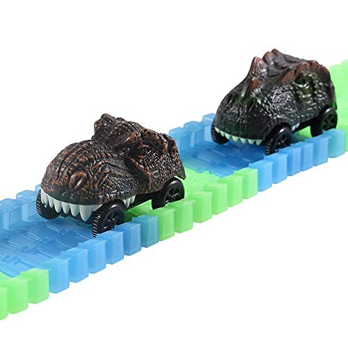 ONTOPON 2 Pack Dinosaur Car Toy for Bend Tracks- Fits Create A Road Vehicle