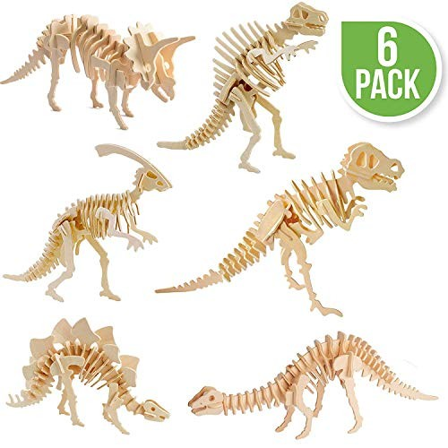 Dinosaur Puzzles 3D Wooden Building Blocks Toys Manual DIY Stereo Model Diagram Creative Assembled Educational Toy for Adults and Kids