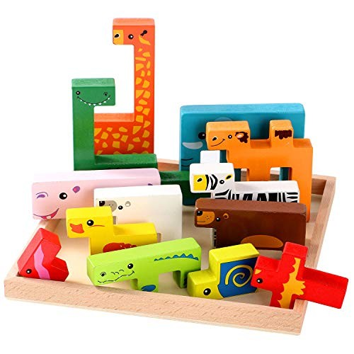 Lewo Wooden Puzzle Brain Teasers Toy Building Blocks Game Wood Puzzles Intelligence Educational Toys for Preschool Children Kids