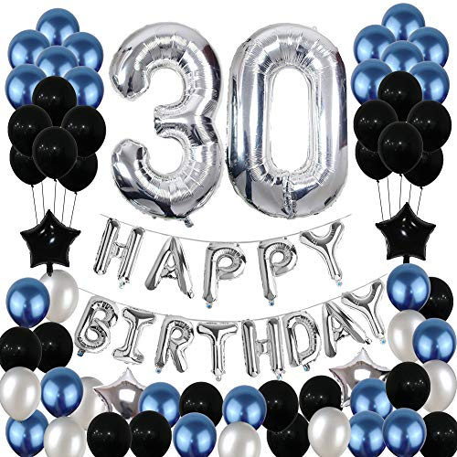 30th Birthday Decorations30 Balloons Party Supplies Happy Banner Latex Foil Star Blue Black 81PCS