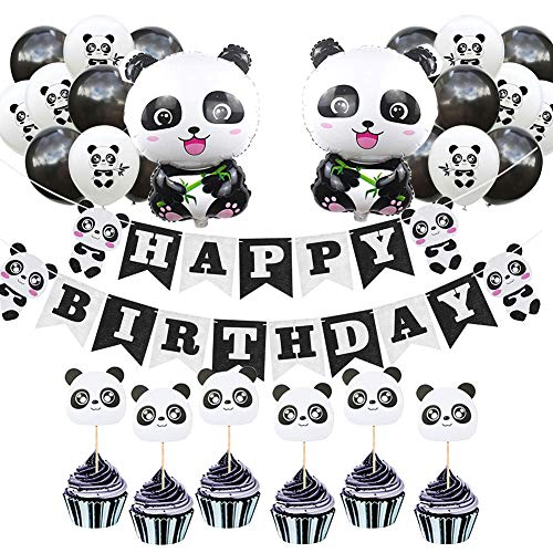 Sharlity Panda Party Decorations Supplies Happy Birthday Banner Balloons Cake Toppers for Kids