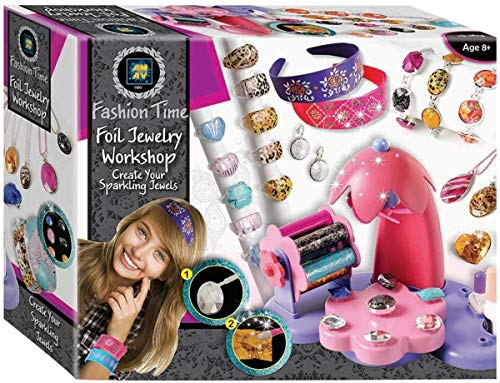 AMAV Toys Foil Workshop Jewelry Making Kit for Girls Complete Set Including Beads Bracelets Hair Pins and Pendants Earring Perfect Arts&Crafts DIY Deluxe Gift Ages +6