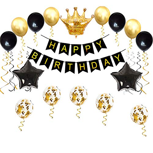 Birthday Party Decorations KIT – Happy Banner Gold Crown Balloon and Black Latex Balloons Perfect Supplies