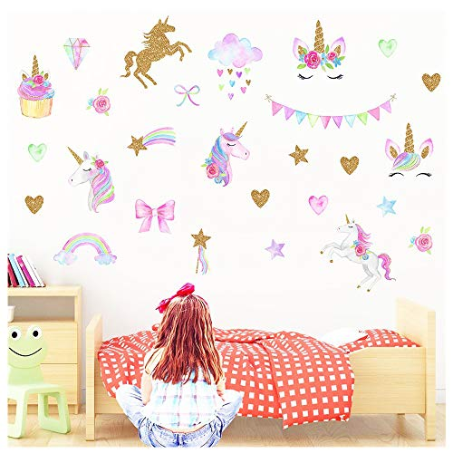 MLM Unicorn Wall Decals Sticker Decor with Heart Flower for Kids Rooms Birthday Gifts Bedroom Nursery Home Party