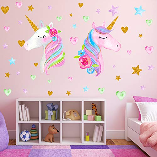 2 Sheets Large Size Unicorn Wall DecorRemovable Decals Stickers Decor for Gilrs Kids Bedroom Nursery Birthday Party FavorNeasyth Store 999 $ 2 PCS