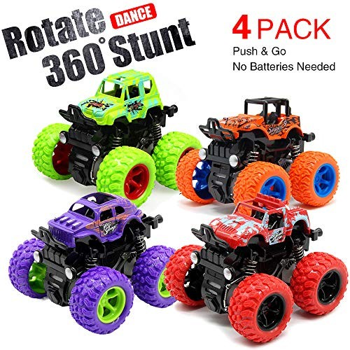 Toy Cars for Boys 4 Pack Push Cars for Toddlers 360 Degree Rotation 4