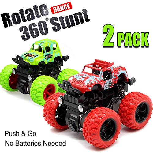 Toy Cars for Boys 2 Pack Push Toddlers 360 Degree Rotation 4 Wheels Drive Durable Friction Powered Car Toys Kids Birthday Party Gift 3 5 6 7 Year Old Cake Topper