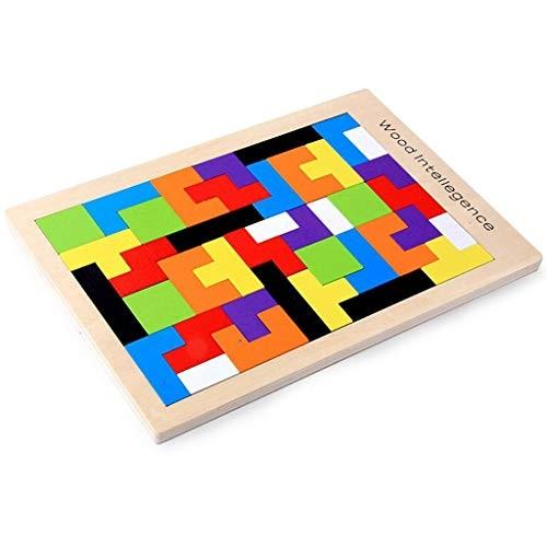 BJLWTQ Wooden Tetris Puzzle Blocks Baby Educational Toys Building Wood Tangram Jigsaw Brain Teasers Toy for Kids