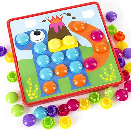 BJLWTQ Children Puzzle Buttons Art Mushroom Nail Mosaic Pegboard DIY Jigsaw Building Bricks Pegging Board – Baby Early Learning Toys Educational