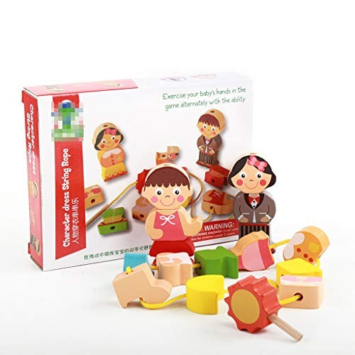 BJLWTQ 16 Blocks Wooden Lacing and Stringing Beads Building Toy Toddlers Character Dressing Threading Toys for Kids
