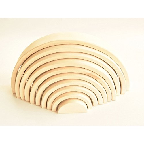 Rainbow Stacker Natural Montessori Wood Building Toys Stacking Nesting Waldorf Baby Wooden for Toddlers Open Ended Play Babies Large 10 Pcs