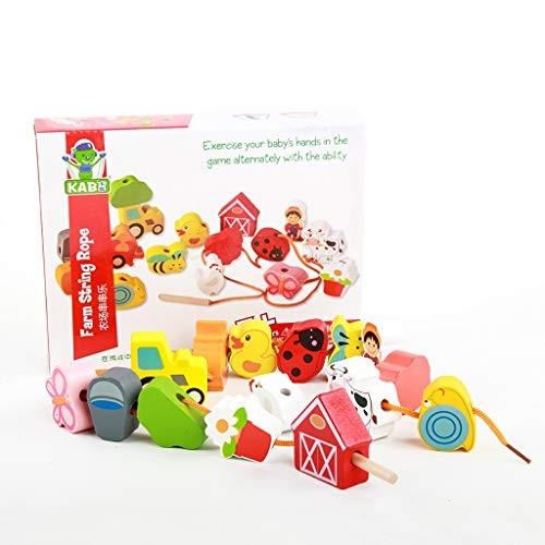 BJLWTQ Wooden Lacing and Stringing Beads Building Blocks Toy Toddlers Farm Threading Toys for Kids