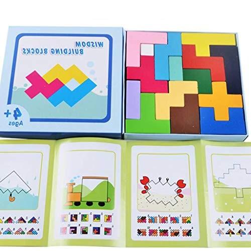 BJLWTQ Wooden Tetris Puzzle Toy Colorful Tangram Brain Teaser Game Building BlocksChildren's Toys Assembled 3D Stereoscopic Intelligence Enlightenment – Paper Box