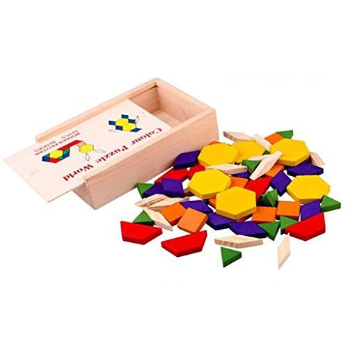 BJLWTQ Children's Puzzle Building Blocks Toy Pattern 60 Pieces – Wooden Tangram Puzzles Educational Intellectual Toys