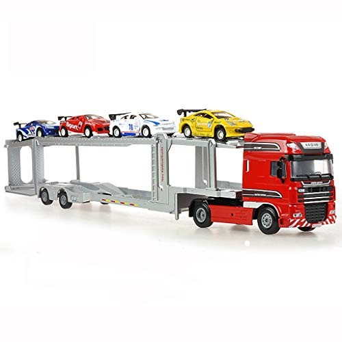 Lsxlsd Children's Toy Car Double-Deck Truck Model Alloy Engineering Metal Semi-Trailer Trailer
