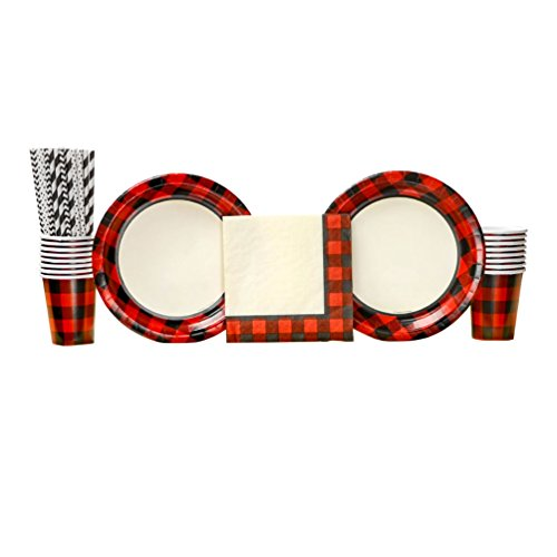Buffalo Plaid Red Lumberjack party pack for 16 Guests 24 Paper Straws Dinner Plates Luncheon Napkins and Cups Charming Bundle your camping or woodland