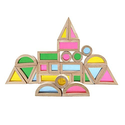 Rainbow Acrylic Blocks 24 pcs – Wooden Toys for Toddlers- Play on Light Table Sunny Window