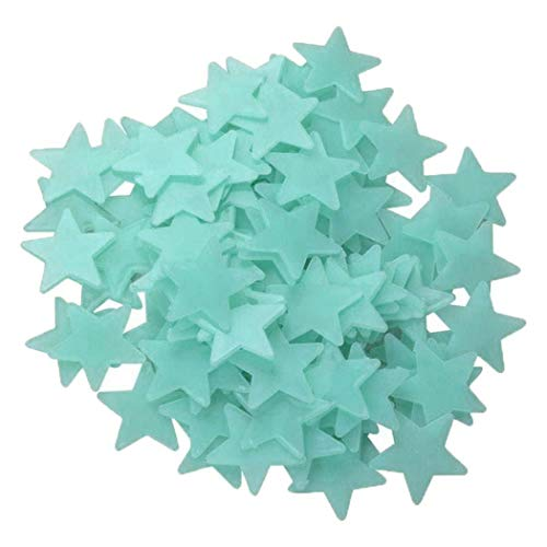 yerflew 100 Pcs Colorful Glow in The Dark Luminous Stars Fluorescent Noctilucent Plastic Wall Stickers Murals Decals for Home Art Decor Ceiling Decorate Kids Babys Bedroom Room Decorations