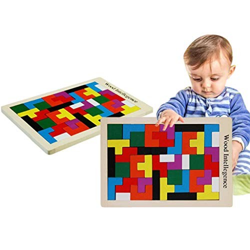 Digood Kids Wooden Jigsaw Cube Puzzle Toy Block Building Game Gift