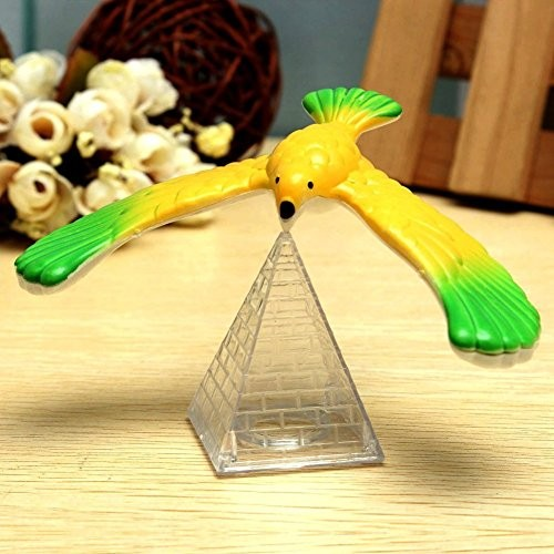 NszzJixo9 Amazing Balancing Eagle with Pyramid Stand Magic Bird Desk Toy Fun Learn Kids' Gift Spin It Stop flip Its Wings The Won't Fall Off