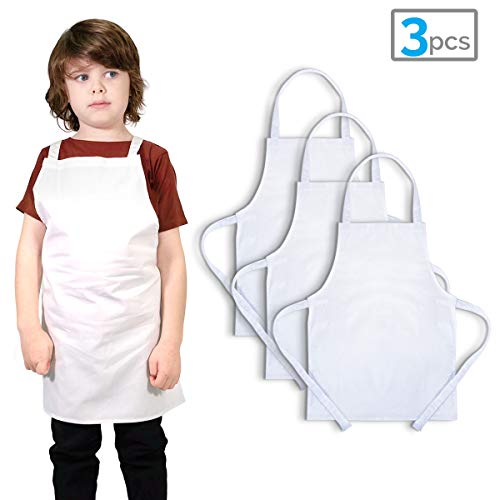 Twinklebelle White Kids' Aprons for Cooking Painting 100% Cotton Decorate with Markers M 3-9 Years 3-pc Pack