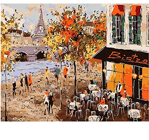 Jigsaw Puzzle 1000 Piece Decorate Paris Cafe DIY Landscape for Living Room Wall Decor Classic 3D Wooden Toy Gift