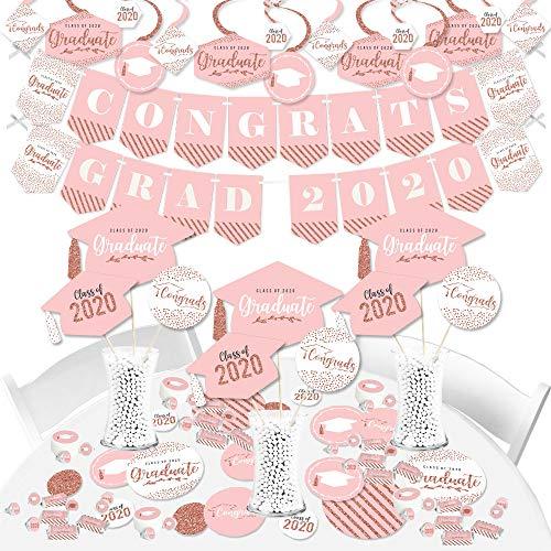 Big Dot of Happiness Rose Gold Grad – 2020 Graduation Party Supplies Banner Decoration Kit Fundle Bundle