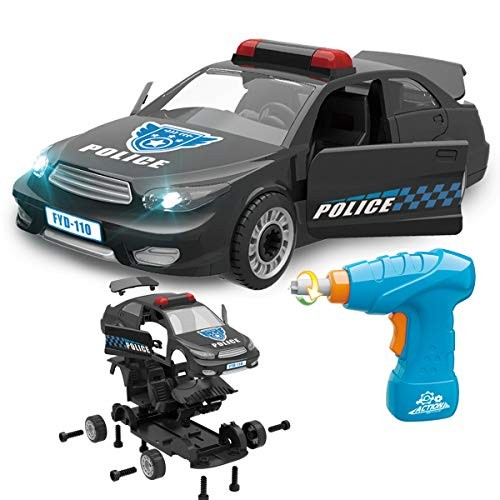 FYD Vehicle Take Apart Toys 33 Pieces Black Police Car Construction Engineering STEM Learning Building Play Set with Real Working Drill and Screws