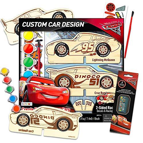 Disney Pixar Cars Wood Model Kit ~ Lightning McQueen Wooden Craft Color Paint Decorate Your Own Race Activity Set Disney Model