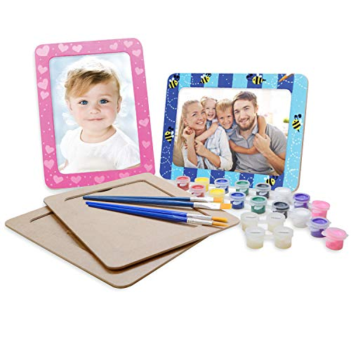 VHALE DIY Paint Your Own Picture Frame 4 Sets of MDF Wood Photo Frames 5 x 7 inch with Stand for Children to and Decorate Classroom Arts Crafts Party Favors Kids