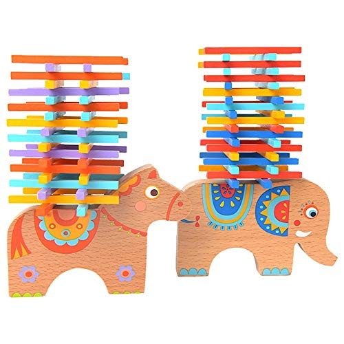 Tagke Elephant Balance Beam Spell Inserting Blocks Children Stacking Toys Color Stick Stack Music Table Games Boy Girl Color B