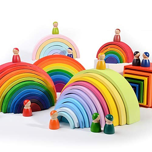 bromrefulgenc Rainbow Stacker Toy for Toddler12 Puzzles Wooden Tunnel Nesting Sculpture Building Intelligence Stack Gift Macaron