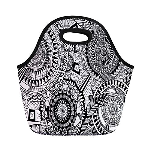 Semtomn Neoprene Lunch Tote Bag Abstraction Complex Mandala Movement for Adult Coloring Book Reusable Cooler Bags Insulated Thermal Picnic Handbag TravelSchoolOutdoorsWork