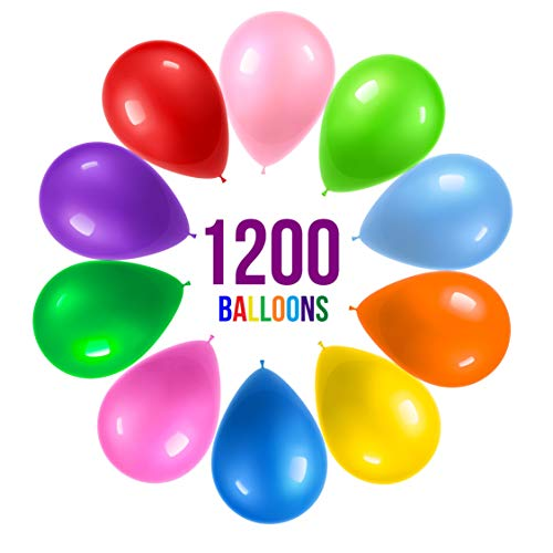 Prextex 1200 Party Balloons 12 Inch 10 Assorted Rainbow Colors – Extra Bulk Pack of Strong Latex for Decorations Birthday Parties Supplies or Arch Decor Helium Quality