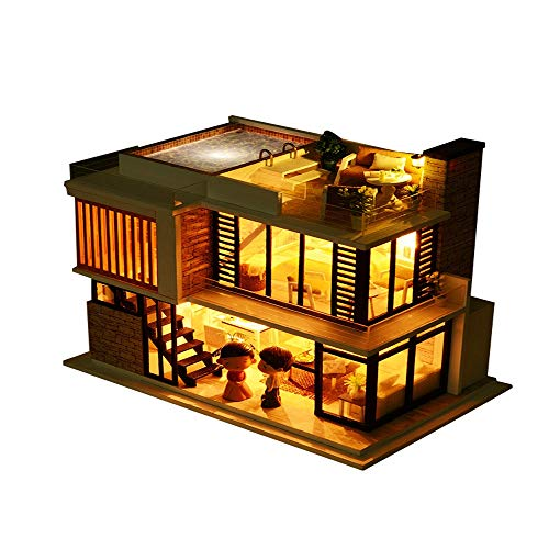 Gbell DIY 3D Luxury Wooden Miniature Dollhouse with Led Puzzle House Decorate Creative Craft Toys Best Early Educational Gifts for Boys Girls