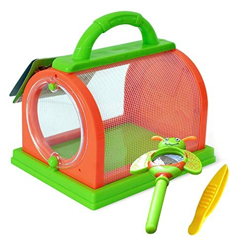 bromrefulgenc Science Experiment Intelligence Toy for TeensKids Insect Bug Cage with Tweezers Magnifier Backyard