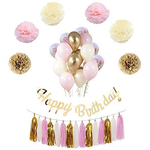 Birthday DecorationBalloons in Gold & PinkFemale 30th 40th 50th Party Supplies BirthdayHappy BannerRose Confetti BalloonsPaper FlowersTassel Garland