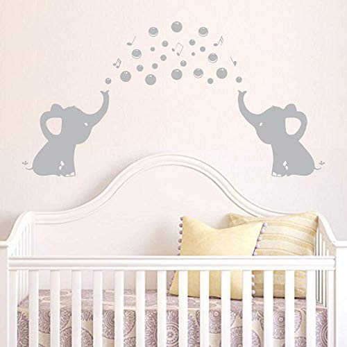 Elephant Wall Decal with Family Removable Vinyl Art Bubbles Stickers Baby Nursery Decor Grey