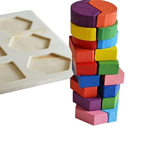 Gbell Kids Baby ToysWooden Geometry Building Blocks Puzzle Fancy Early Education and Learning Intelligence Toys Jigsaw Puzzles Present for Boys Girls