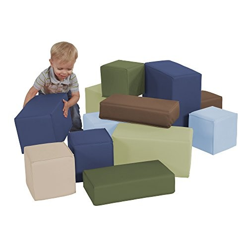 FDP SoftScape Stack-a-Block Big Foam Construction Building Blocks Soft Play Set for Toddlers and Kids 12-Piece Set – Earthtone