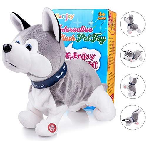 Marsjoy Husky Robot Toy Dog Electronic Plush Stuffed Animal Interactive Puppy Animated for Kids Toddlers Length 12