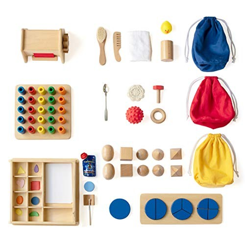 Monti Kids Montessori Toddler Kit Level 8 Includes Wooden Learning Toys; Sensory Arts Early STEM Puzzles; Parent Education and Support from Certified Educators; Safety