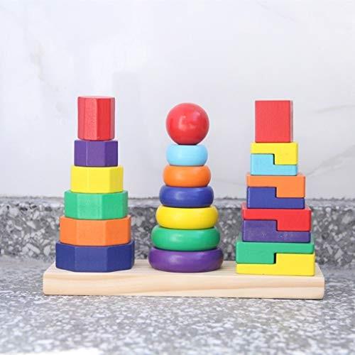 BJLWTQ Baby Toys Three Column Shape Set of Rainbow Tower Wooden Geometric Stacker Child Educational Toy Building Blocks Gift