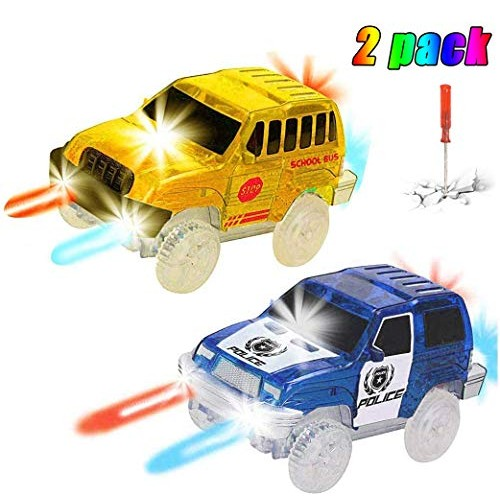 THREE BEARS Track Cars(2-Pack)5 LED Lights Yellow School Bus and Blue Police CarCompatible with