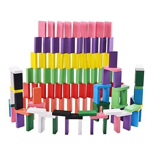Toyvian 240pcs Wooden Dominoes Set Kids Domino Building Blocks Color Sorting Toys for Children
