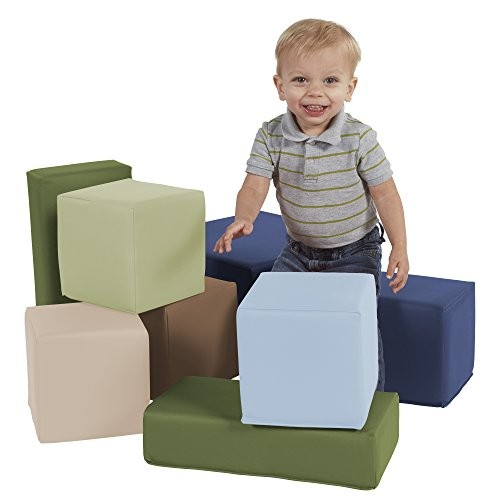 FDP SoftScape Stack-a-Block Big Foam Construction Building Blocks Soft Play Set for Toddlers and Kids 8-Piece Set – Earthtone